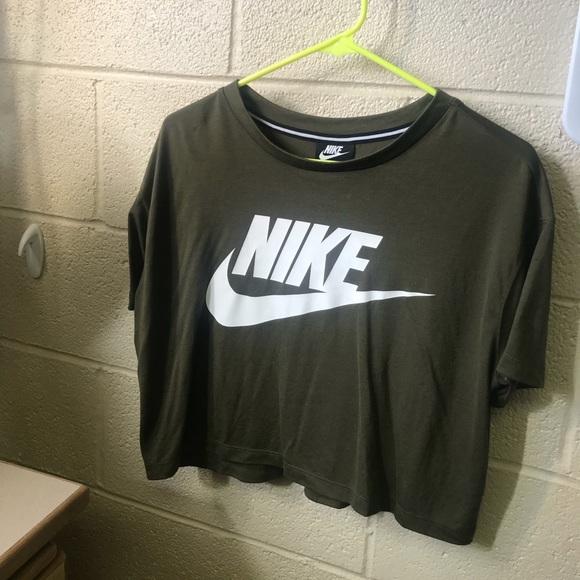 f78b283f7 Nike Tops | Olive Green Crop Top | Poshmark